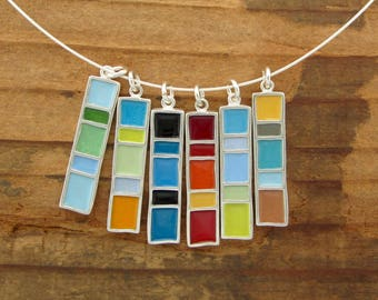 Longitude Necklace - New Century Modern - Reversible Enamel Necklace in Three Color Options