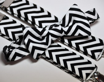 Boy's Bow Tie and Suspenders Black and White Chevron
