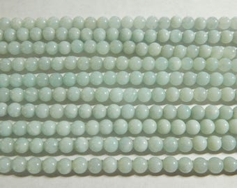 6mm A Grade Natural Amazonite Round Polished Semi-Precious Beads, Full or Half Strand (IND1C435)