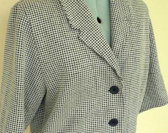 Vintage Classic Short Jacket Cropped Black White Check
