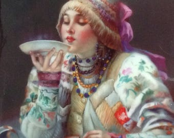 "Russian Giclee Print Lacquer Box, Fedoskino: ""Tea Drinker"""