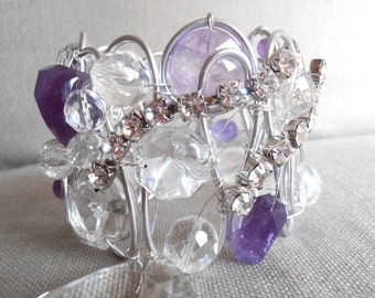 SET OF 2 gorgeous amethyst and rhinestone curtain holders silver, crystals drapery holders, tie back