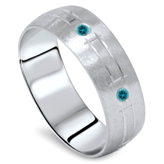 Diamond Wedding Ring Blue Diamond Mens Wedding Ring 14K White