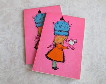 Pair of Bright Pink Vintage Bridge Score Pads, New Old Stock, Girl with Crown & Bird
