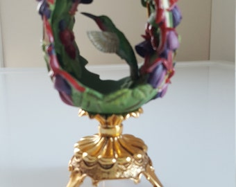 """Franklin Mint/House of Faberge""""Jewels in the Garden"""" Hummingbird with stand"""