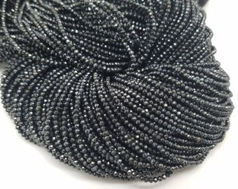 2mm Black Spinel Mystic Coated Micro Faceted Beads, 13 inch