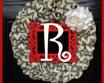 SPRING SPECIAL!! Chevron Burlap Wreath with Initialand Burlap Hydrangea-Front Door Wreath-Fall Wreath-Monogrammed Wreath