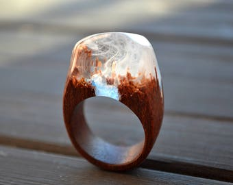 Personalized Wood resin ring Secret world in wooden rings Wood jewelry Gift for women Gift for men Inspirational ring Inspirational jewelry