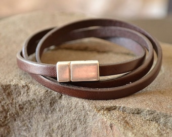 Brown Leather Bracelet with Magnet Clasp, Brown Wrist Strap, Leather Bracelet for Men