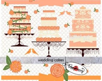 Wedding Cakes: Digital Clipart (300 dpi) Wedding Bridal Shower Floral Peach Pink Brown