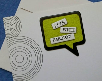 Live With Passion handmade trifold greeting card with concentric circles