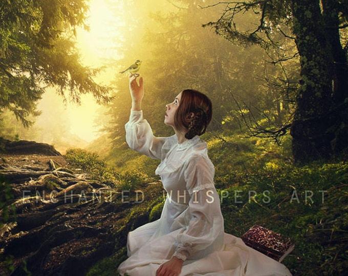 woodland fantasy forest woman art print