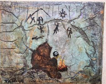 """Werde ich?: Original Mixed Media Gemälde von Tazz. 5""""X 4"""" X 1,5. """" Fertig zum Aufhängen. Outsider Art."""