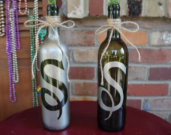 Wine Bottle Recycled Bottle Centerpiece With Customized Letter for Wedding Events