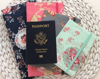 Family Passport Holder, Holds 2, 4, 6, 8 Passports, APO Address, International Travel, Cute Floral Travel Accessory, Family Cruise, Wallet