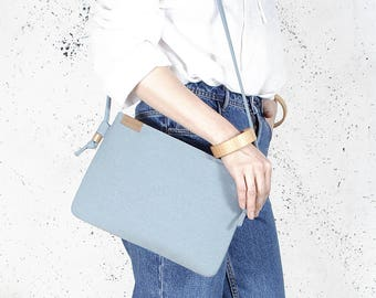 Nodo bag Clutch bag blue vegan bag polyester with cotton handbag shoulder strap pocket zipped wedding purse bridesmaid bridal evening gift