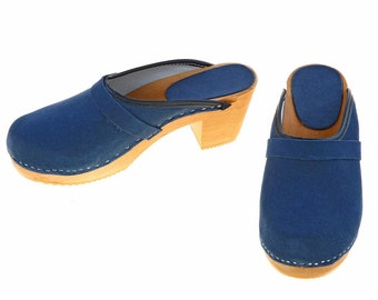 High heel Clogs suede leather blue