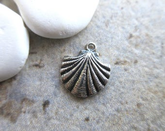 Shell Charm Sterling Silver 925 12mm x 14mm silver scallop shell bracelet charm silver beach charm SHELL03