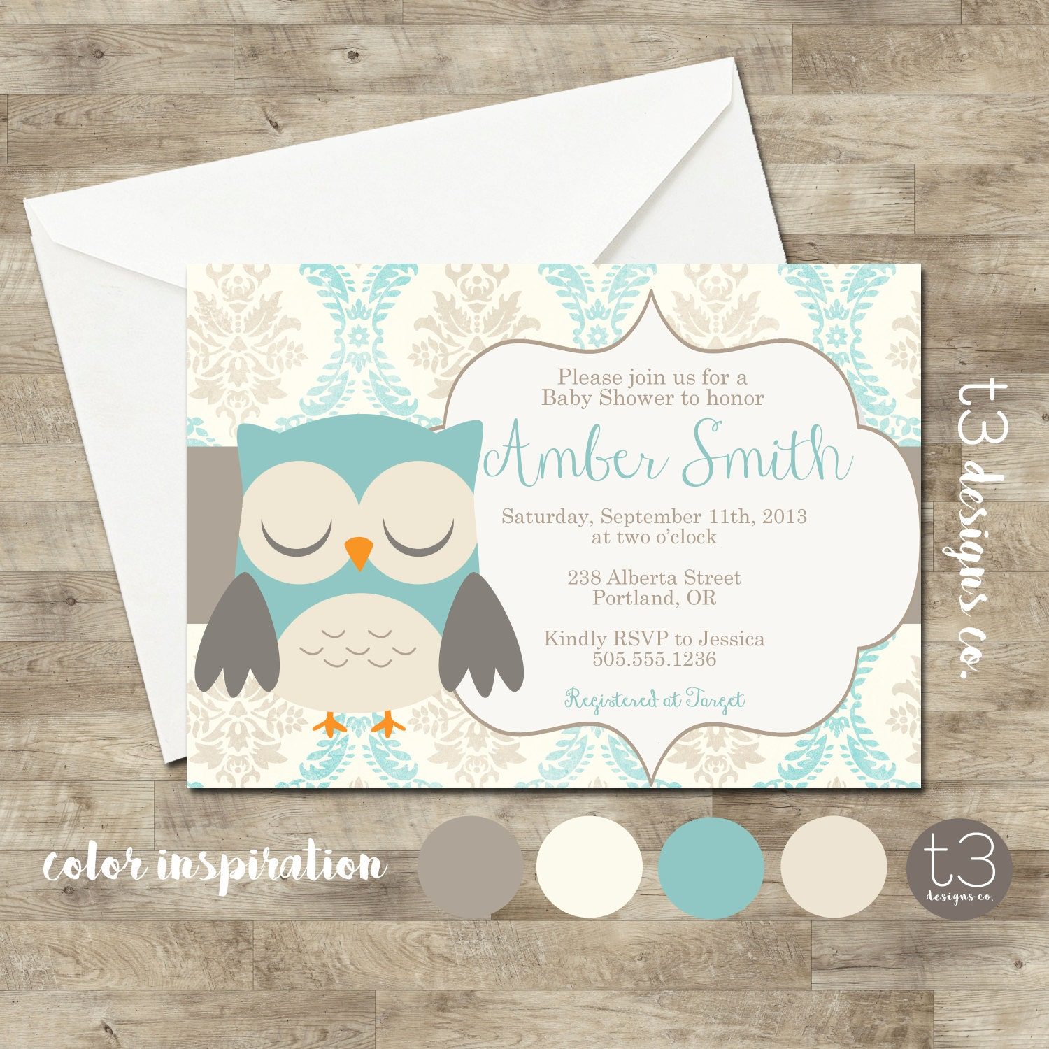 Printable Baby Shower Invite, owl Baby Shower Invitation, boy owl ...