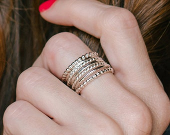 Bohemian Rings Sterling Silver - Stacking Ring Set Silver - Boho Jewelry Rings - Big Rings for Women - Ring Size 4 - 14 - Silver Stack Rings