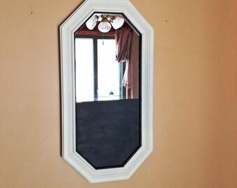 Dorm Mirror, Dorm Chalkboard, Mirror Chalkboard, Mirror Organizer, Rustic Home Decor, Dorm Supplies, Hanging Mirror, Ivory Mirror