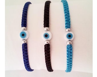 Evil eye waxed cord bracelet kids women men teens Greek simple evil eye wristband cuff