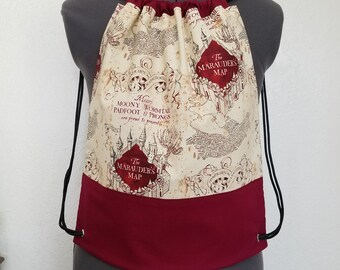 Drawstring Bag made from licensed Harry Potter material, Backpack, Gym Bag, Marauder's Map, I Solemly Swear I Am Up To No Good, Hiking Bag