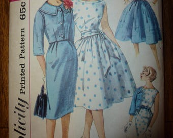 Vintage Simplicity Pattern 3340 for Junior and Misses' One-Piece Dress with Two Skirts Jacket and Sash Size 14