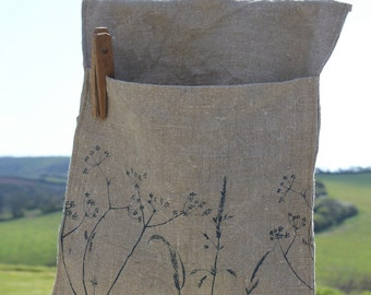 Peg Bag - Linen - Perfect Peg Storage for your washing line - From The Hedgerow Collection - Helen Round - HelenRoundDesigns