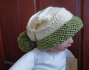 KNITTING PATTERN for a baby's hat, Laurel Baby Hat, PDF pattern, Easy Knitting, Quick Knit Hat, Pom Pom Hat, Baby Shower Gift