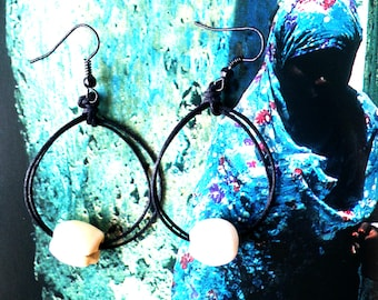 Earrings CHIAROSCURO -- with black cotton and hooks, lotus seed by All Things Natural