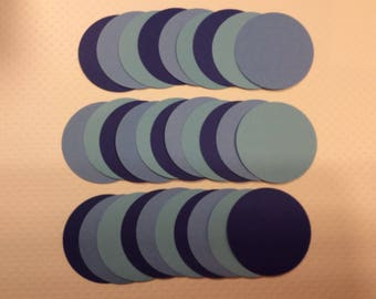 Handmade, 30 - Assorted Blue Circles, Die Cuts, Cardstock, Punch
