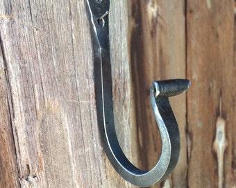 Wrought iron hook, mudroom or towel hook