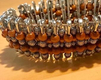 Wooden Safety Pin Bracelet