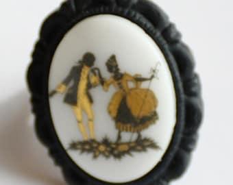 Vintage Black and Gold Limoges Cabochon Adjustable Ring, Vintage German Glass Decal Ring, NeoVictorian Cameo Ring, JewelryFineAndDandy SRAJD