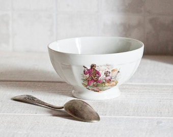 """Vintage french small """"Café au lait"""" bowl Limoges - French breakfast bowl - Shabby chic & country style"""