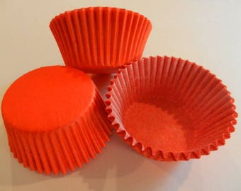 48 Orange MINI Size Cupcake Liners Baking Cups Greaseproof Wrappers