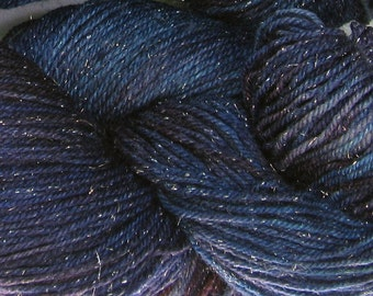 Arctic Hare hand dyed sock yarn fingering weight, 3ply superwash with silver, 100g - Midnight Blues 3
