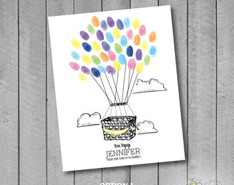 Personalized Hot Air Balloon Basket Thumbprint Guestbook Sign For Wedding/Bridal Shower/Baby Shower/Retirement/Moving - Fingerprint Balloons