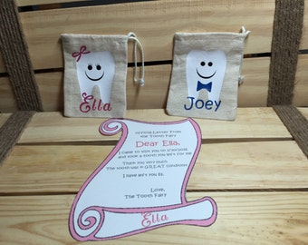 Tooth Fairy Bag and Letter from the Fairy. Personalized with your Child's Name. 3x4 Muslin Bags. Quick Shipping.