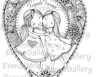 INSTANT DOWNLOAD Digi  1 Coloring page and 1 Greeting card, Digital Image Friends Forever ~ Image No. 2 by Evona