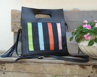 Black Leather Shoulder and HandBag. Handwoven Ladies Bag. Designer Handbag. Unique Handbag. Leather Tote with Zipper. Mother's Day Gift.