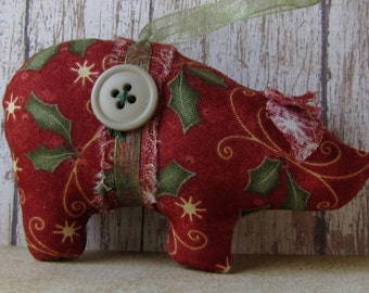 Christmas fabric ornaments,  handmade ornaments, holiday ornaments, red and green, country decor, shabby cottage, stocking stuffer