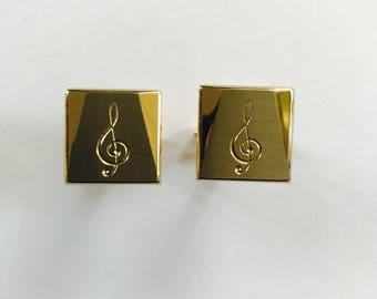Vintage 1960's Swank Treble Clef Musical Gold Tone Cuff Link Set