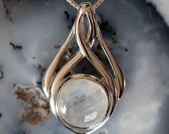 Celtic Knot Moonstone Sterling Silver Necklace, Irish Pendant, Infinity Knot, Eternity, Gemstone, Birthstone, Round Moonstone, 925 Silver