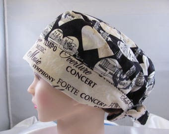 Women's Pixie Scrub Hat Musical Notes