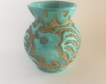 Vintage PV Italy Sgraffito Vase Turquoise Fish Motif Peasant Village Pottery Signed