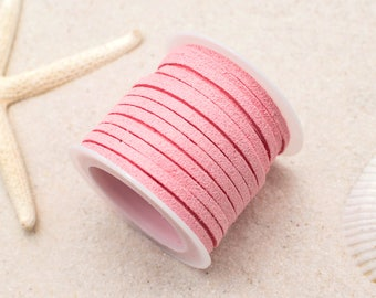 Suede Cord, 3mm,  Flat Cord, 5 Meters,   Bead Cord, Light Pink -S9