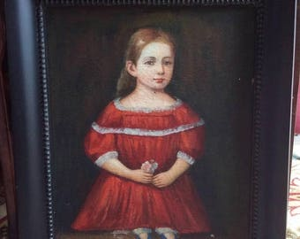 Sale Antique 19th C. Oil Painting Portrait of Young Girl in Red Dress O/C Art Framed Obo