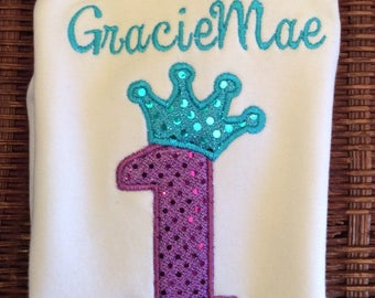 Sequin Crown Birthday top- personalized up to girls' size 6x